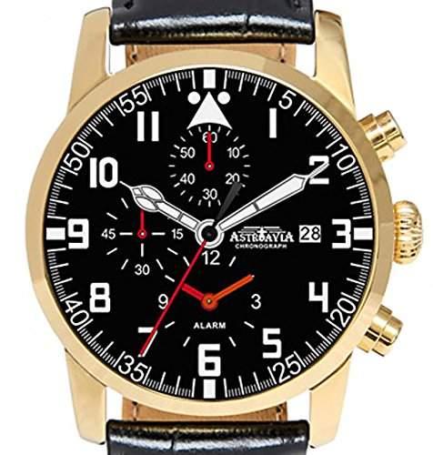 Astroavia K8L Alarm Chronograph mit Lederband Herren-Armbanduhr Quarz