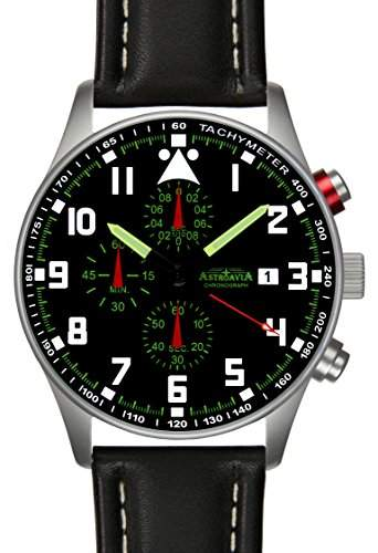 Astroavia N33+A4W Chronograph mit Leder Armband Herren-Armbanduhr 42 mm