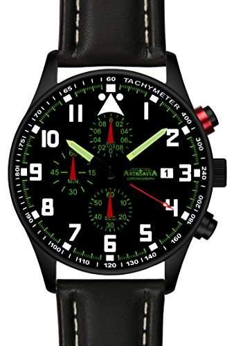 Astroavia N33B+A4W Chronograph mit Lederarmband Herren-Armbanduhr 42 mm