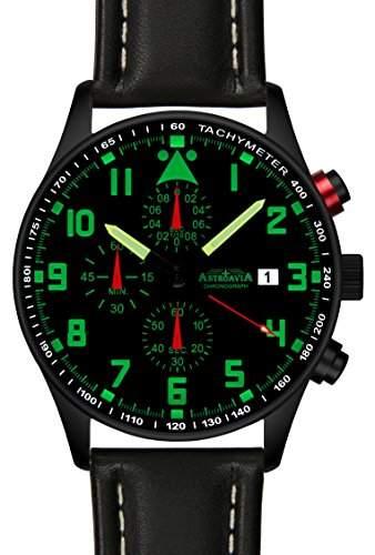 Astroavia N34B+A4W Chronograph mit Lederarmband Herren-Armbanduhr 42 mm