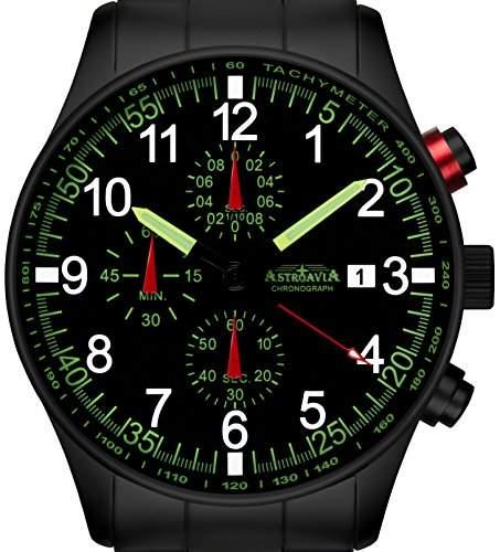 Astroavia N37BS Chronograph mit Edelstahl Armband Herren-Armbanduhr 42 mm