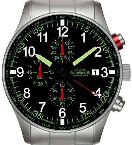 Astroavia N37S Chronograph mit Edelstahl Armband Herren-Armbanduhr 42 mm