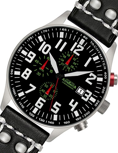 N55L2 Astroavia 44mm Herren Armbanduhr Chronograph Quarz Leder Schwarz