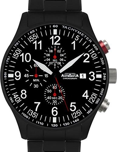 N57BS Astroavia Chronograph Herren Armbanduhr Edelstahlband 44mm quarz schwarz