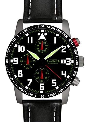 Astroavia N63+A4W Chronograph mit Lederarmband Herren-Armbanduhr 40 mm