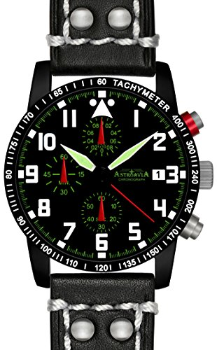 N63BL2 Astroavia Chronograph Herren Armbanduhr Lederband 40mm quarz