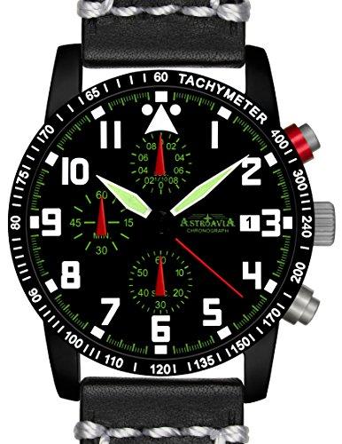 N63BL3 Astroavia Chronograph Herren Armbanduhr Lederband 40mm quarz