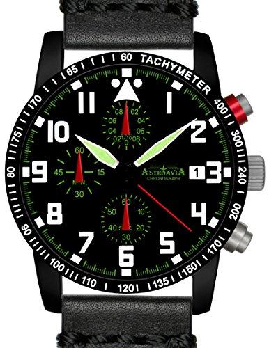 N63BL4 Astroavia Chronograph Herren Armbanduhr Lederband 40mm quarz