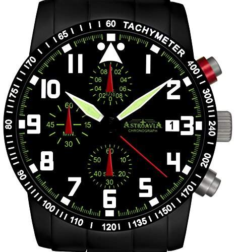 Astroavia N63BS-10ATM Chronograph mit Edelstahl Armband Herren-Armbanduhr 40 mm