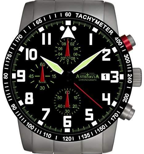 Astroavia N63S-10ATM Chronograph mit Edelstahl Armband Herren-Armbanduhr 40 mm