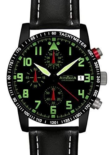 Astroavia N64B+A4W Chronograph mit Lederarmband Herren-Armbanduhr 40 mm