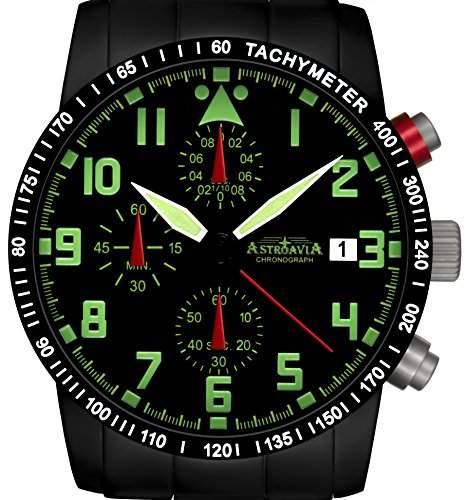 Astroavia N64BS-10ATM Chronograph mit Edelstahl Armband Herren-Armbanduhr 40 mm