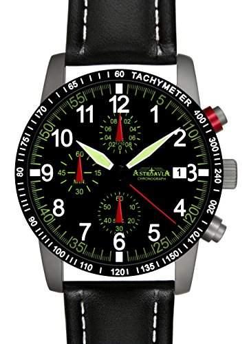 Astroavia N67+A4W Chronograph mit Lederarmband Herren-Armbanduhr 40 mm