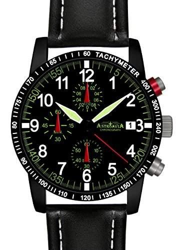 Astroavia N67B+A4W Chronograph mit Lederarmband Herren-Armbanduhr 40 mm