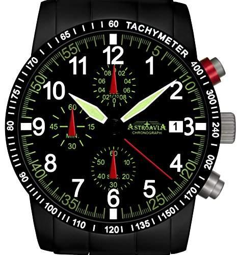 Astroavia N67BS-10ATM Chronograph mit Edelstahl Armband Herren-Armbanduhr 40 mm