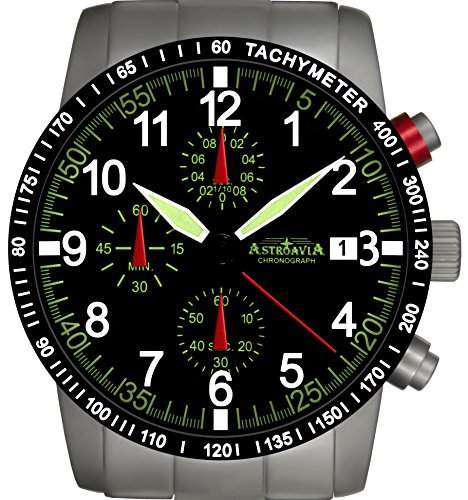 Astroavia N67S-10ATM Chronograph mit Edelstahl Armband Herren-Armbanduhr 40 mm