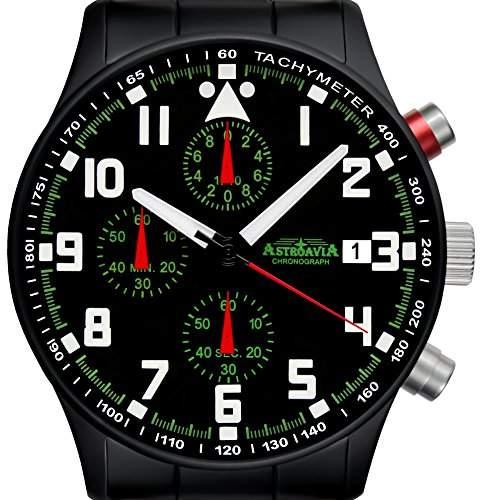 Astroavia N93 black Chronograph mit Edelstahl Armband Herren-Armbanduhr 40 mm schwarz PVD beschichtet