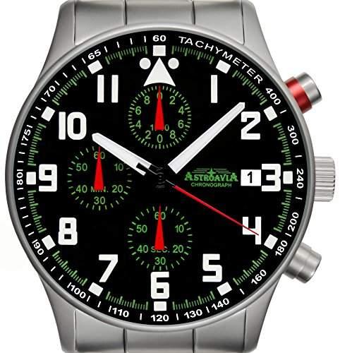 Astroavia N93S - 5ATM Chronograph Herren-Armbanduhr 40 mm Edelstahlband