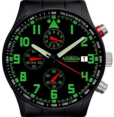 Astroavia N94 PVD black Chronograph mit Edelstahl Armband Herren-Armbanduhr 40 mm schwarz PVD beschichtet