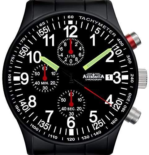 Astroavia N97 black Chronograph mit Edelstahl Armband Herren-Armbanduhr 40 mm schwarz PVD beschichted