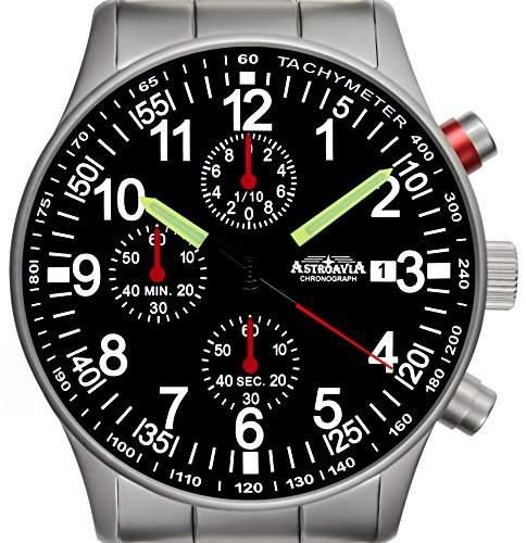 Astroavia N97S Chronograph mit Edelstahl Armband Herren-Armbanduhr 40 mm