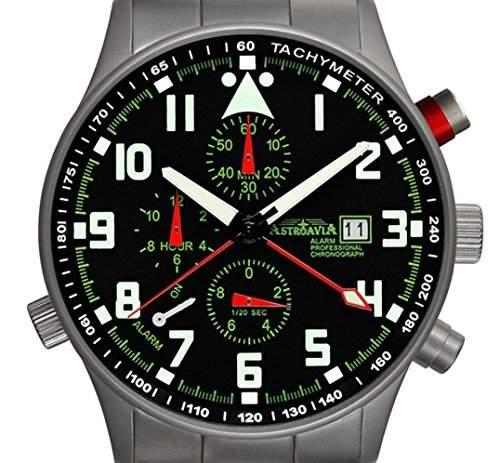 Astroavia R43S Alarm Chronograph mit Edelstahl Armband Herren-Armbanduhr 40 mm