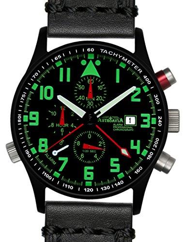 R44BL4 Astroavia Alarm Chronograph Herren Armbanduhr Lederarmband schwarz