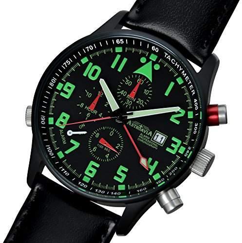 Astroavia R4BL Alarm Chronograph schwarz beschichtet mit Lederband, Herren-Armbanduhr 40 mm