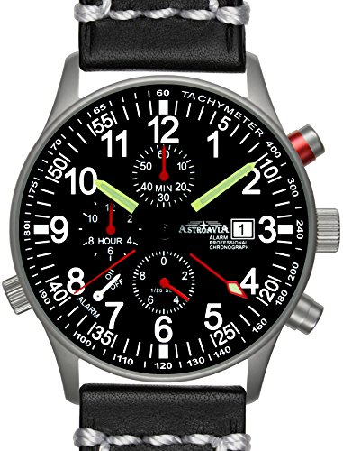 R71L3 Astroavia Alarm Chronograph Lederarmband schwarz