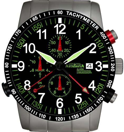 R87S Astroavia Alarm Chronograph Herren Armbanduhr Edelstahlband 40mm quarz