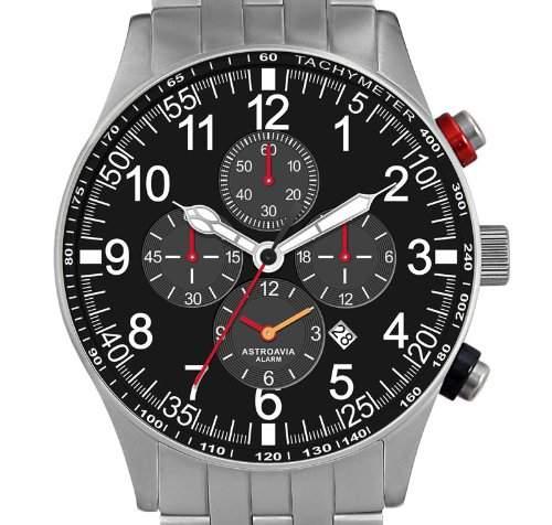Astroavia V1S Alarm Chronograph mit Edelstahl Armband Herren-Armbanduhr Quarz 42 mm