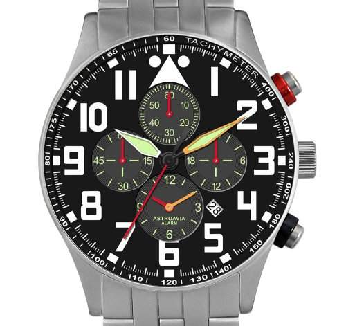 Astroavia V2S Alarm Chronograph mit Edelstahl Armband Herren-Armbanduhr Quarz 42 mm Butterfly Falstschliesse