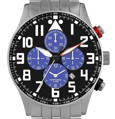 Astroavia V4S Alarm Chronograph mit Edelstahl Band Herren-Armbanduhr Quarz
