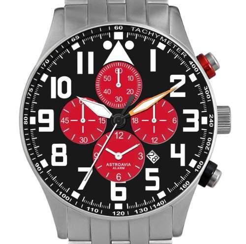 Astroavia V5S Alarm Chronograph mit Edelstahl Armband Herren-Armbanduhr Quarz