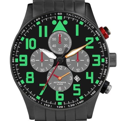 Astroavia V8S Alarm Chronograph mit Edelstahl Armband Herren-Armbanduhr Quarz