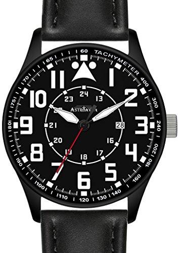 Y3BA Astroavia Herren Armbanduhr Lederband quarz