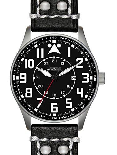 Y3L2 Astroavia Herren Armbanduhr Lederarmband Analog Quarz schwarz 42 mm