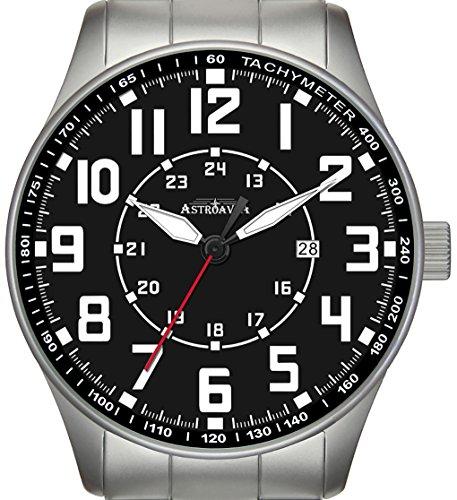 Y5S Astroavia Herren Armbanduhr Edelstahlband Analog Quarz schwarz 42 mm