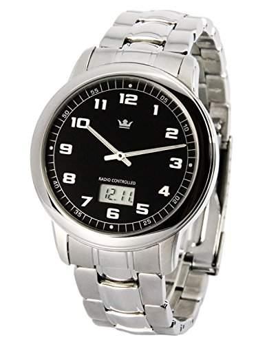 Elegante MARQUIS Herren Funkuhr Junghans-Uhrwerk Gehaeuse und Armband aus Edelstahl 9644001