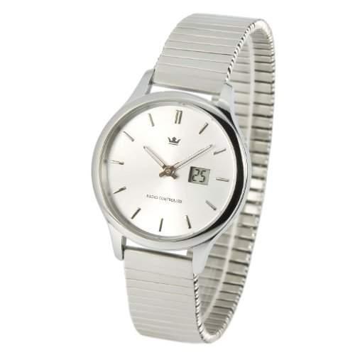 Elegante MARQUIS Damen Funkuhr Junghans-Uhrwerk Gehaeuse und Armband aus Edelstahl 9644005