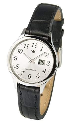 Elegante Damen Funkarmbanduhr Junghans-Uhrwerk Edelstahlgehaeuse, Schwarzes Lederarmband 9644006