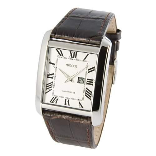 Elegante MARQUIS Herren Funkuhr Junghans-Uhrwerk Lederarmband m Edelstahlverschluss, Gehaeuse aus Edelstahl 9644016