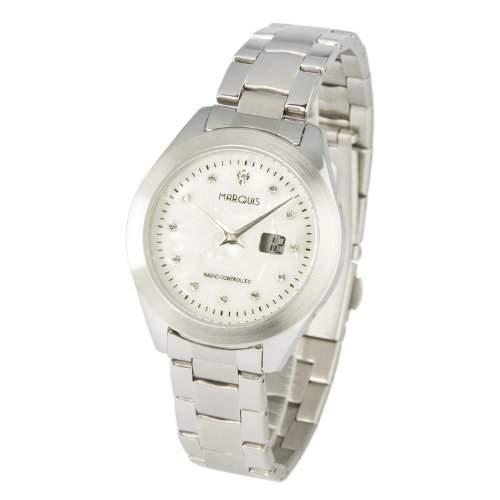 Elegante MARQUIS Damen Funkarmbanduhr Junghans-Uhrwerk, Perlmutt Zifferblatt mit Kristallsteinchen - 9644100