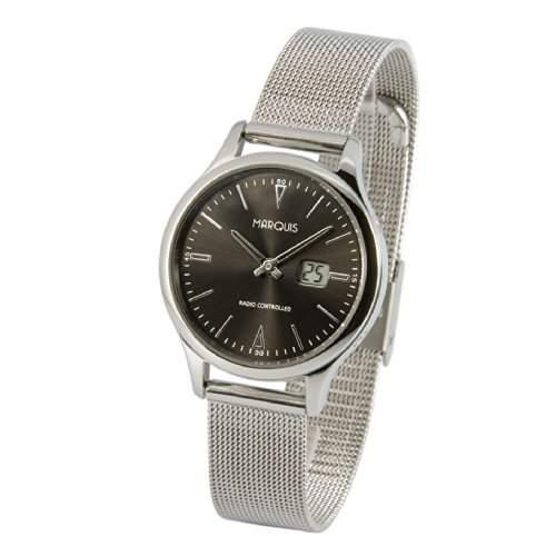 Elegante MARQUIS Damen Funkuhr Junghans-Uhrwerk Milanaise Armband , Gehaeuse aus Edelstahl 9644101