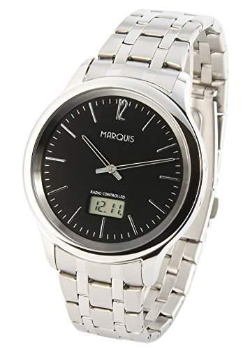 Elegante MARQUIS Herren Funkuhr Junghans-Uhrwerk Gehaeuse und Armband aus Edelstahl 9644104