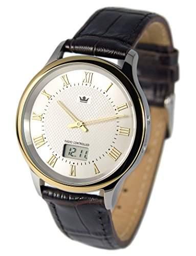Elegante Bicolor Herren Funkuhr Junghans-Uhrwerk Braunes Lederarmband, Edelstahlgehaeuse 9644106