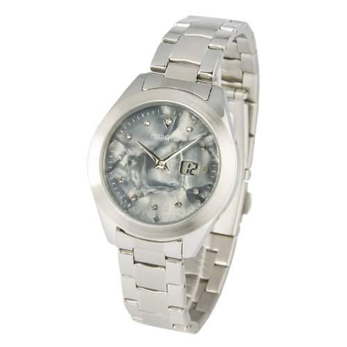 Elegante MARQUIS Damen Funkarmbanduhr Junghans-Uhrwerk, Perlmutt Zifferblatt mit Kristallsteinchen - 9644107