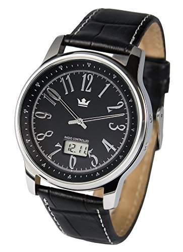 Elegante Herren Funkuhr Junghans-Uhrwerk Schwarzes Lederarmband, Edelstahlgehaeuse 9644108