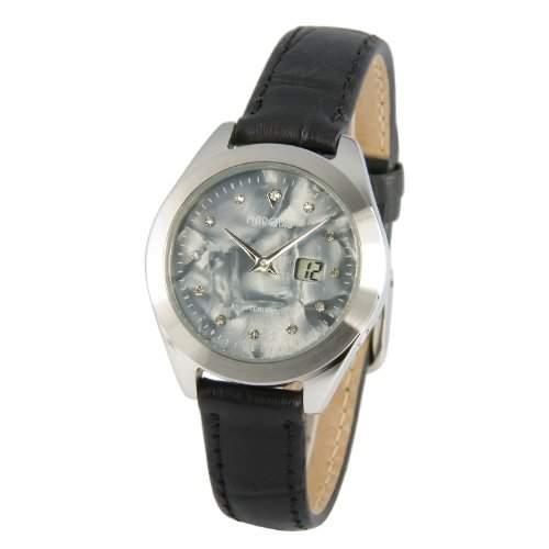 Elegante MARQUIS Damen Funkarmbanduhr Junghans-Uhrwerk Edelstahlgehaeuse, Lederarmband mit Edelstahlverschluss - 9644110
