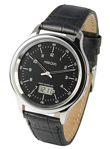Elegante Herren Funkuhr Junghans-Uhrwerk Schwarzes Lederarmband, Edelstahlgehaeuse 9644114